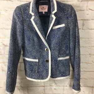 Juicy Couture Blue White Tweed Blazer size 6